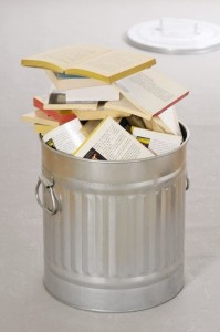 Books in a bin ** TCN OUT **